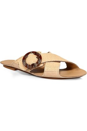 DEFINERY Women's Loop Cross Raffia Flat Sandals - - Size 36 (6)