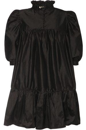 AVAVAV Women Party Dresses - Ruffled Silk Shantung Mini Dress