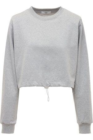 The Frankie Shop Cotton Jersey Sweatshirt W/shoulder Pads