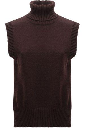 The Frankie Shop High Neck Wool Blend Knit Vest