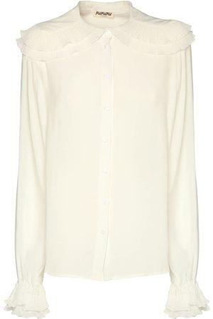 AVAVAV Women Shirts - Pleated Collar Crepon Shirt