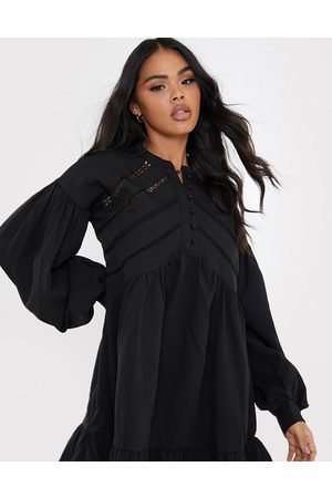 In The Style X Lorna Luxe volume sleeve button front mini smock dress in