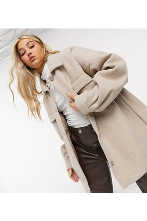COLLUSION Faux-wool coach jacket in oatmeal