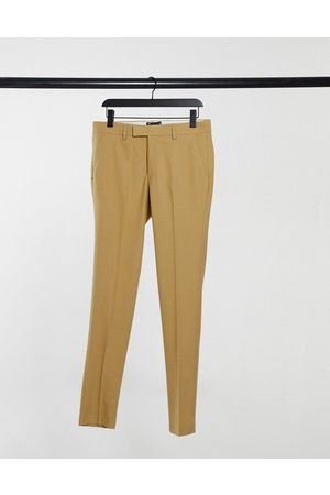 ASOS Wedding super skinny suit pants in camel micro texture