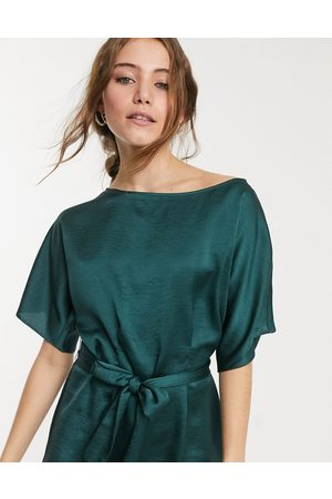 Lipsy London Fluted sleeve blouse with belt detail in