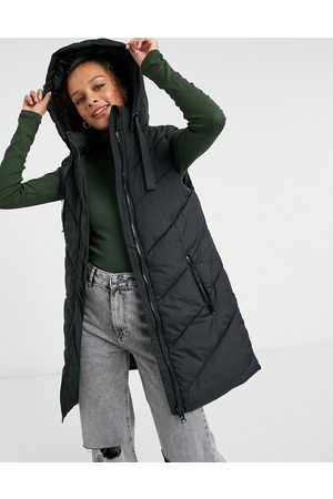 JDY Padded lightweight vest with hood in