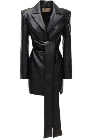 MATÉRIEL by Aleksandre Akhalkatsishvili Women Party Dresses - Faux Leather Mini Dress W/self-tie Waist