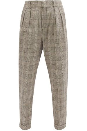 Isabel Marant Magali High-rise Prince Of Wales-check Trousers - Womens - Grey