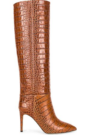 PARIS TEXAS Embossed Croco 85 Stiletto Boot in Animal Print