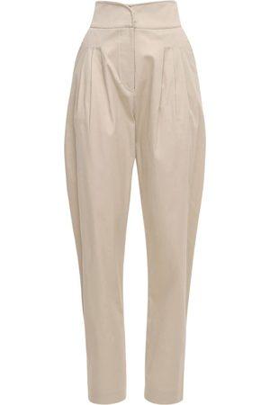 Acheval Pampa Women Pants - Gato High Waist Cotton Satin Pants