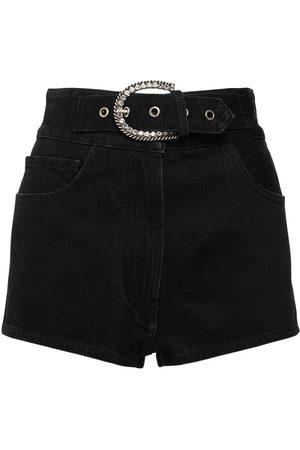 Alessandra Rich Women Shorts - High Waist Cotton Denim Shorts