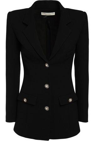 Alessandra Rich Wool Crepe Single Breast Jacket