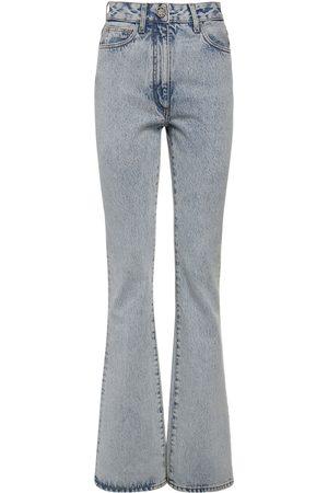 Alessandra Rich High Waist Cotton Denim Flared Jeans