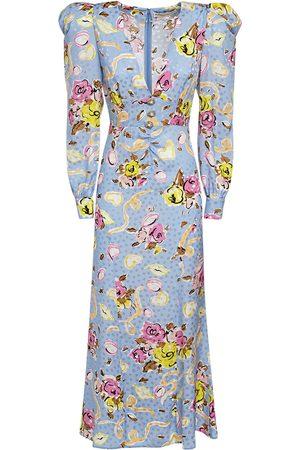 Alessandra Rich Women Printed Dresses - Floral Ribbon Printed Silk Long Dress