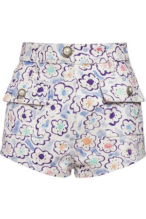 Alessandra Rich Women Shorts - Floral Print Cotton Gabardine Shorts