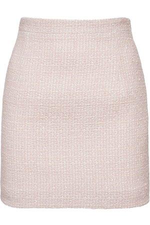 Alessandra Rich Wool Blend Tweed Mini Skirt