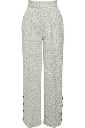 Alessandra Rich Women Pants - High Waisted Wool Blend Tweed Pants