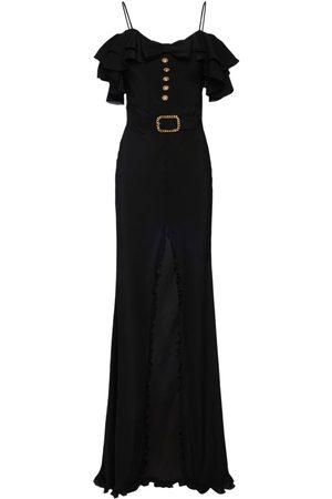Alessandra Rich Silk Long Dress W/ Ruffles Bow & Buttons