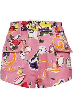 Alessandra Rich Women Shorts - Floral Print Cotton Gabardine Mini Short