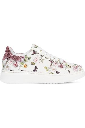 MONNALISA Girls Sneakers - Flowers Canvas Lace-up Sneakers
