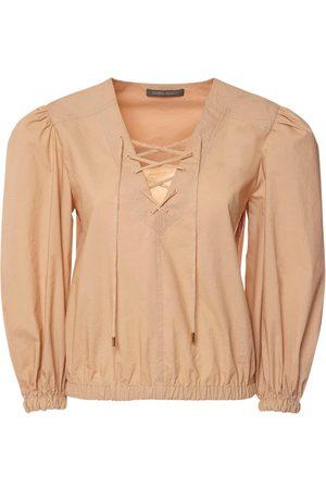 Alberta Ferretti Cotton Poplin Shirt W/ Puff Sleeves