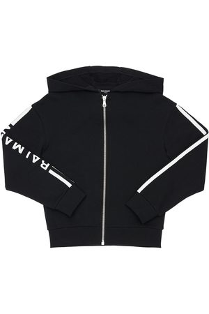 Balmain Cotton Zip-up Sweatshirt W/ Logo