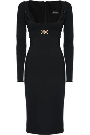 VERSACE Stretch Viscose Jersey Midi Dress