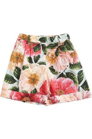 Dolce & Gabbana Floral Print Cotton Poplin Shorts