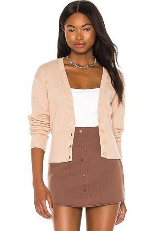 525 America High Rib Cardigan in Beige.