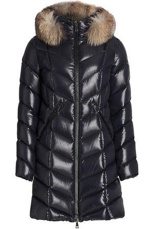 Moncler Women's Flumarus Lacque Fox Fur-Trim Quilted Down Coat - Navy - Size Medium