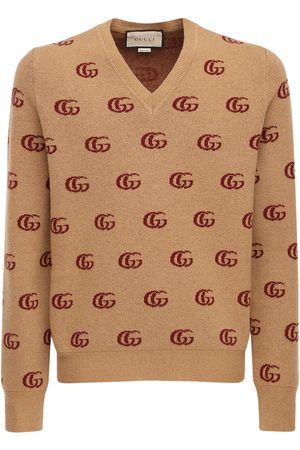 Gucci Men Sweaters - Double G Jacquard Wool V-neck Sweater