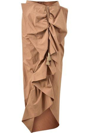 JOHANNA ORTIZ Ruffled Asymmetric Cotton Poplin Skirt