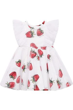 MONNALISA Girls Printed Dresses - Strawberry Print Poplin & Tulle Dress