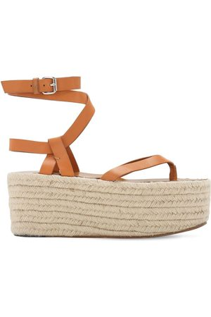 Isabel Marant 75mm Mazia Leather Espadrille Wedges