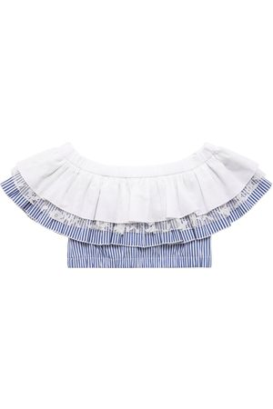 MONNALISA Cropped Cotton Poplin Top W/ Ruffles