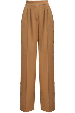 Max Mara Wool Gabardine Wide Leg Pants