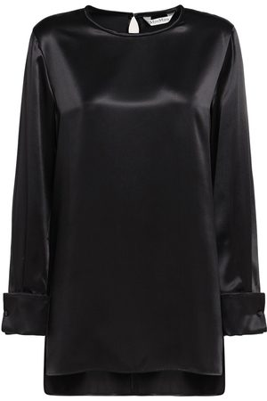 Max Mara Sava Silk Satin Crewneck Top