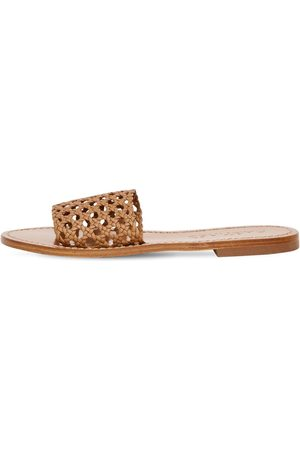 Souliers Martinez 10mm Woven Leather Slides