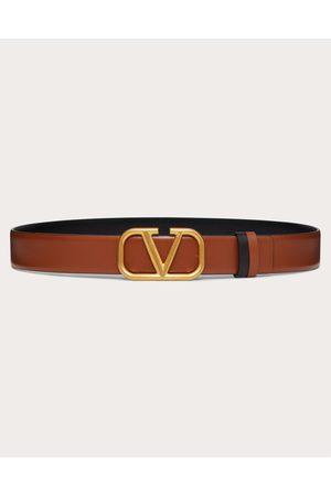 VALENTINO GARAVANI Reversible Vlogo Signature Belt In Glossy Calfskin 30 Mm Women Saddle 100% Pelle Bovina - Bos Taurus 70