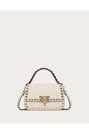 VALENTINO GARAVANI Small Rockstud Grainy Calfskin Handbag Women Light Ivory 100% Pelle Di Vitello - Bos Taurus OneSize