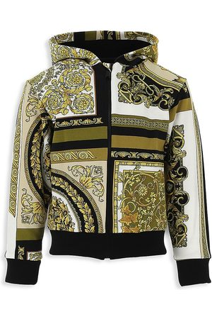 VERSACE Little Kid's & Kid's Jersey Heritage-Print Zip-Up Hooded Sweater - - Size 4