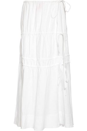 BROCK COLLECTION Linen Midi Skirt W/ Elastic Bands