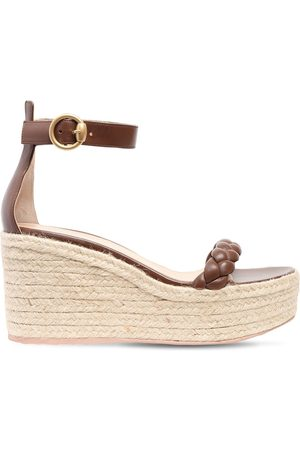 Gianvito Rossi 45mm Leather Espadrille Wedges