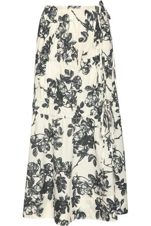 BROCK COLLECTION Floral Print Cotton Poplin Midi Skirt