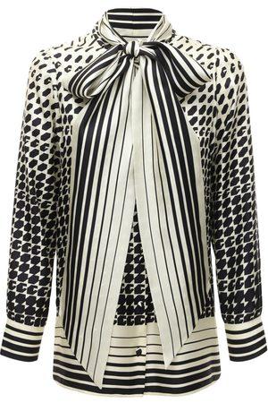 Gucci Geometric Print Shirt W/ Self Tie Bow