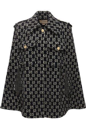 Gucci Logo Felted Wool Jacquard Cape