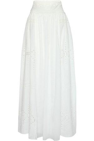 ERMANNO SCERVINO High Waist Cotton Eyelet Long Skirt