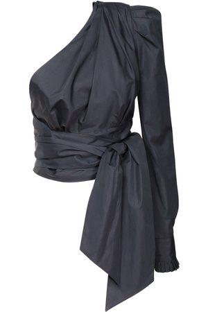 ALEXANDRE VAUTHIER One Shoulder Cotton Poplin Wrap Top