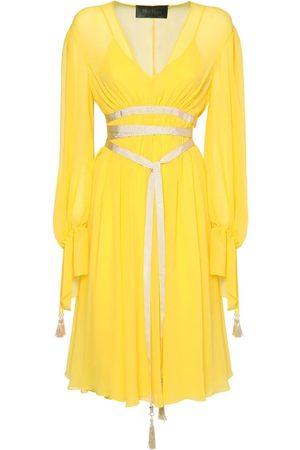 Max Mara Silk Georgette Dress W/ Front Ribbon