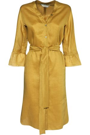 Max Mara Canvas Kaftan Midi Dress W/self-tie Belt